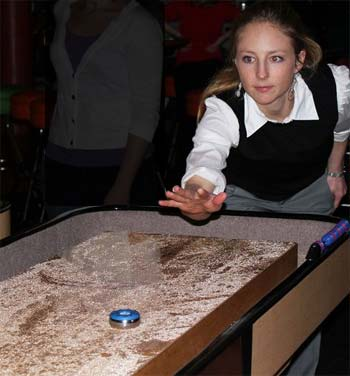 PLaying shuffleboard