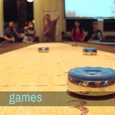Shuffleboard, ping pong, skee ball, pool, billiards, darts